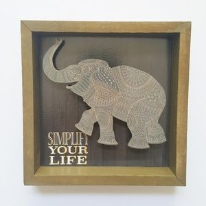 Other - Simplify Your Life Elephant 3D Shadow Box Wall Art